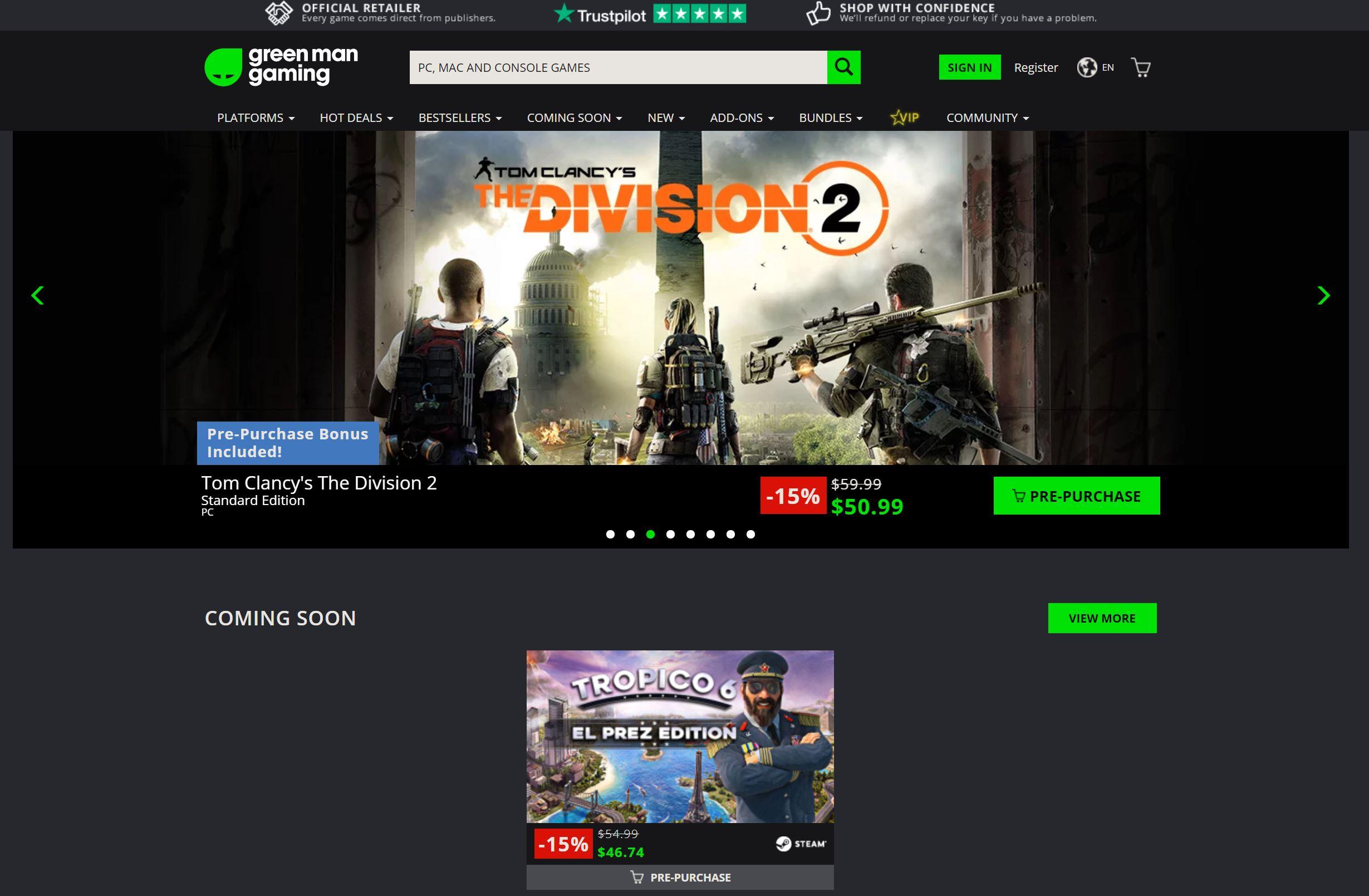 ウェブサイトGreen Man Gamingの画像イメージ