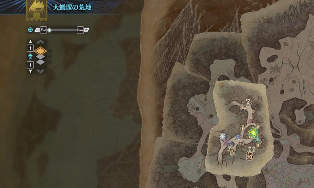 モンスターハンターワールドの「大蟻塚の荒地」の地図