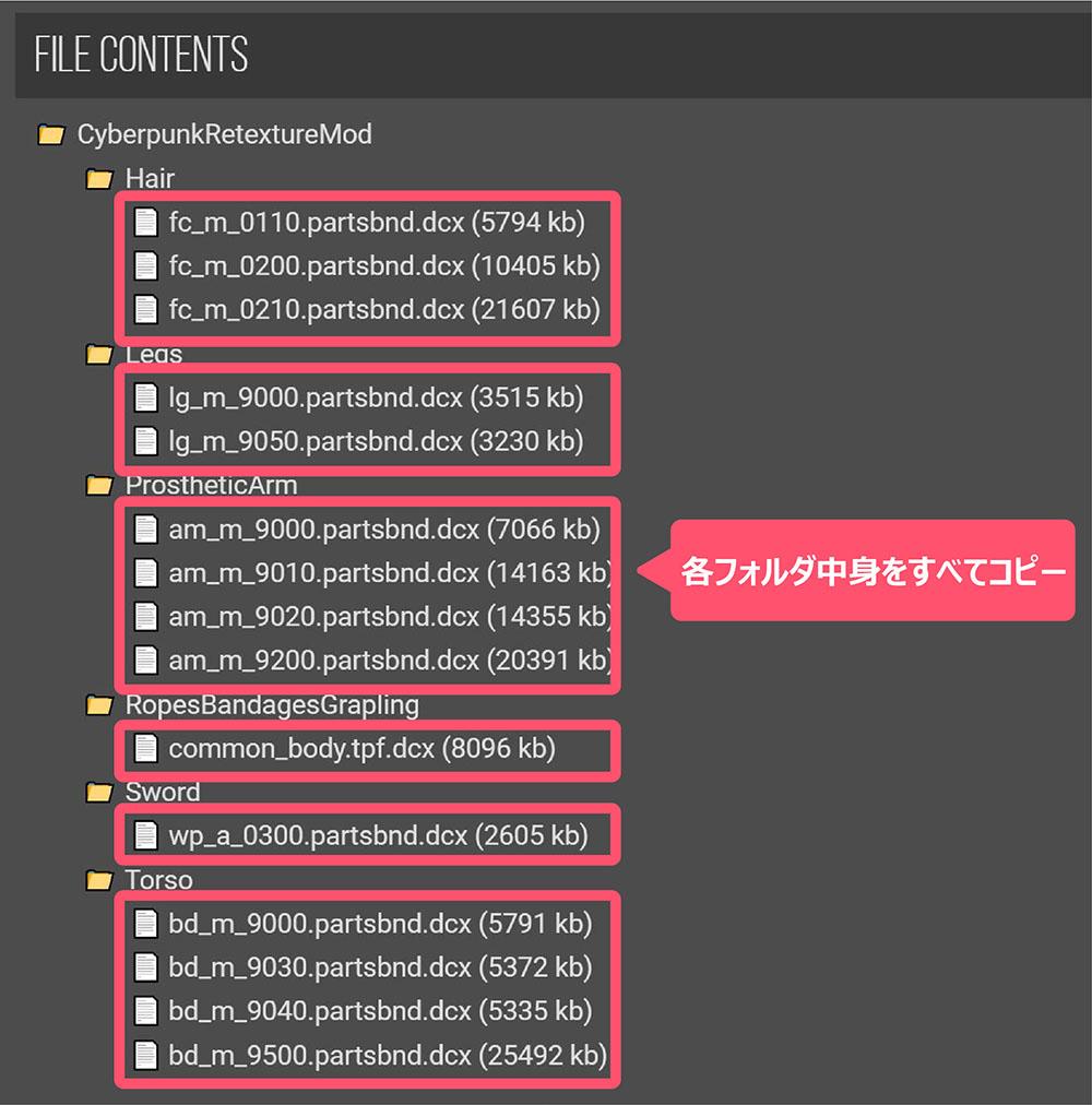 Cyberpunk Set for Sekiroを導入するファイル画像