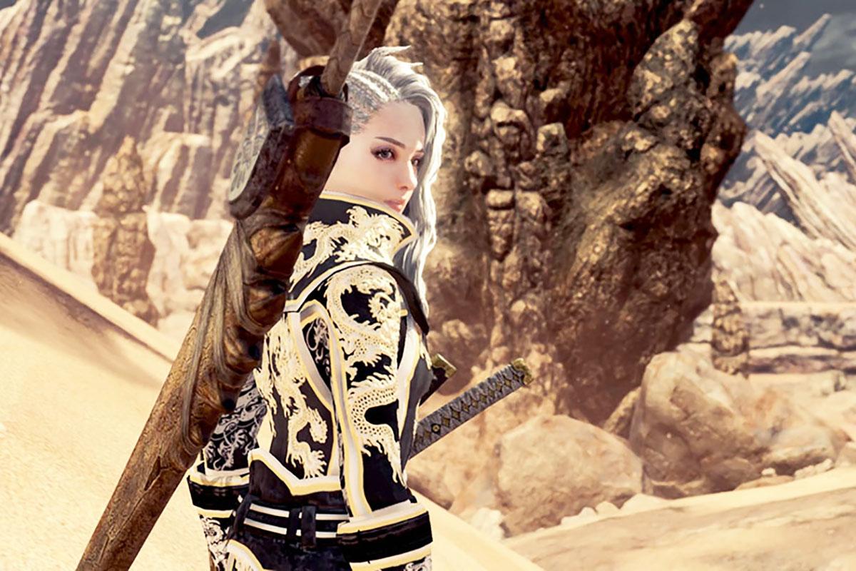 モンスターハンターワールドのMOD「Gorgeous Dragon Knight Battle Suit」を紹介するイメージ画像-2