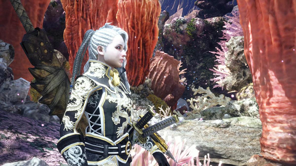モンスターハンターワールドのMOD「Gorgeous Dragon Knight Battle Suit」を紹介するイメージ画像-4