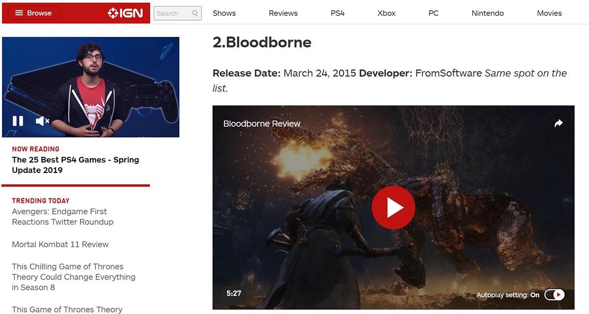 IGNでBloodborneが2位に評価されたイメージ画像