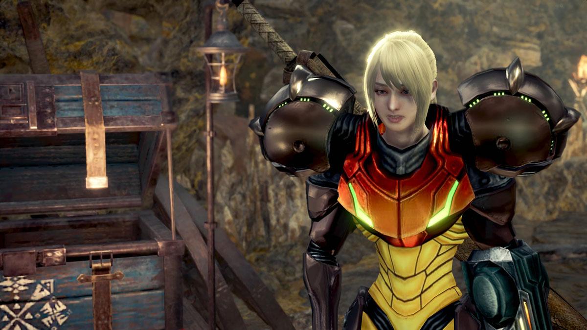 モンスターハンターワールドのMOD「Metroid Prime Samus Suits and Metroid Palico」を紹介するイメージ画像-1