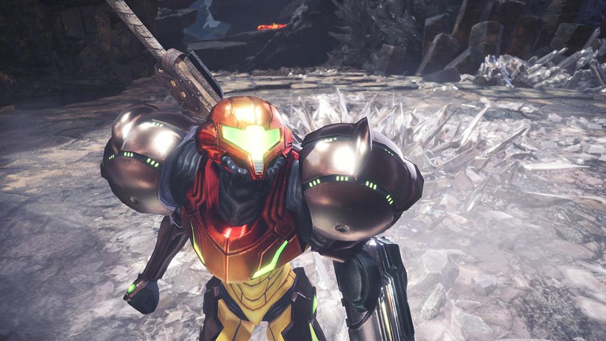 モンスターハンターワールドのMOD「Metroid Prime Samus Suits and Metroid Palico」を紹介するイメージ画像-5